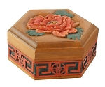 木彫六角小箱(しな材) 30006
