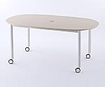 キャスターテーブル ホワイト脚 オーバル ナチュラル