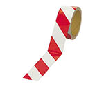 反射トラテープ(赤/白 ポリエステル樹脂フィルム 45mm幅×10m 37411