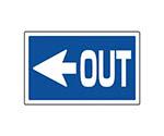 #サインタワー用角表示 左矢印OUT 透明PET樹脂 207×356