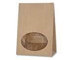 HEIKO 紙袋 窓付袋(内側全面ラミネート) S1F EB未晒無地 ストライプエンボス 50枚