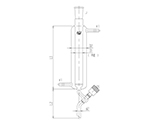 高真空グリースレスバルブ付二重管式クロマトカラム(上部ジョイント・フィルター付) 芯棒PTFE