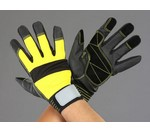 手袋(ポリウレタン・豚革あて付/黒・黄) [L]